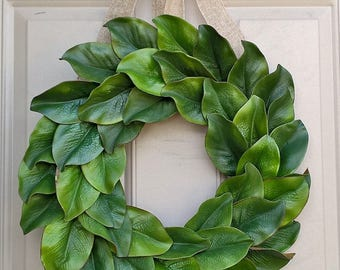 Year-round, all-seasons magnolia leaves wreath with jute or burlap bow