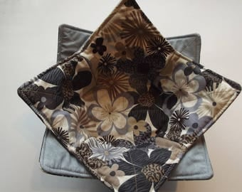 Microwave Bowl Cozies - Blue Slate Flowers
