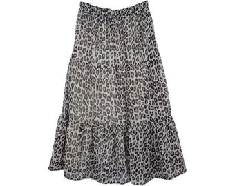 Black White Leopard Print Chiffon Long Skirt