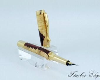 Red Resin Burl Fountain Pen - F037