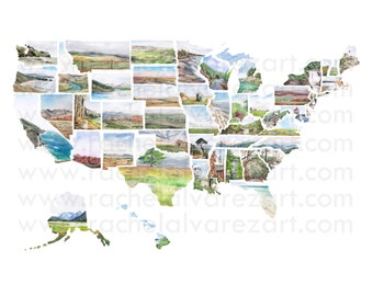 Watercolor Map Print Etsy - Us map print