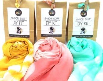 DIY Shibori scarf KIT, Promo 3 for 75, spring colors, Silk scarf kit, tie dyed scarf kit, make your own shibori silk scarf, makes 3 scarves
