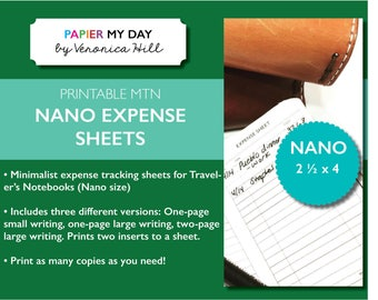Printable Nano Expense Sheets - Fits Nano Size Travelers Notebooks