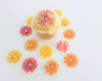 14 Edible Abigail Collection 3D Wafer Flowers Cupcake Toppers Precut