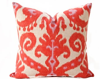 Ikat orange and beige pillow cover, Tribal, Ethnic, Boho toss pillow, Bright orange pillow cover