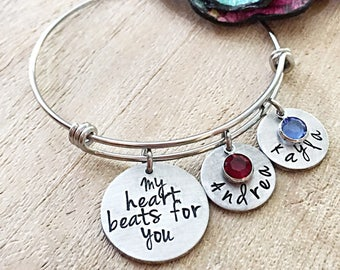 My Heart Beats For You, Mother's Day Gift, Mother's Day Jewelry, Mother's Day Bracelet, New Mom Gift, First Time Mom Bracelet