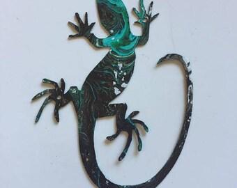 Hand Painted metal lizard yard art garden decor.