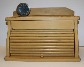 Vintage Painted Bread Box, Craft Storage Box, Office Storage Box