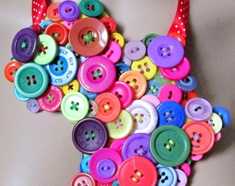 Bubblegum Chic Afric Africa map outline button fest bib Necklace -Vintage and new buttons mix.