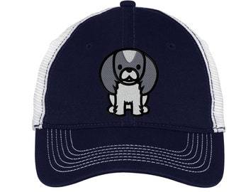 Cartoon Pekingese Mesh Back Hat.  Embroidered Pekingese Hat  Embroidered Baseball Hat  Embroidered Pekingese Trucker Hat. Trucker Hat. DT607