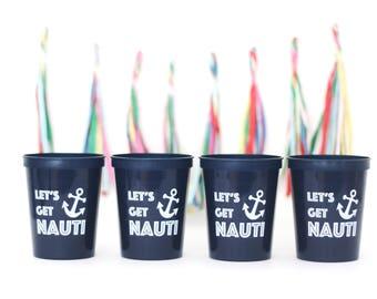 Nautical Bachelorette Party, Nautical Bachelorette Party Gifts, Beach Bachelorette, Bachelorette Cruise, Bachelorette Cups, Lets get Nauti