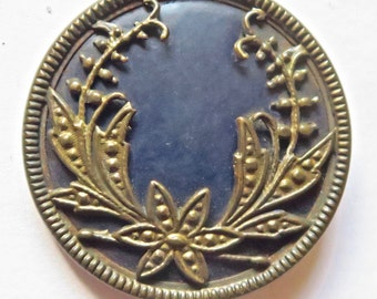 Large Antique Celluloid and Metal Button With Floral Pattern