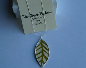 """Paper pendant, green leaf with silver wire frame, 18"""" sterling silver chain"""