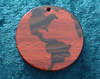 """100% Solid Natural Wood hand-cut handcrafted Red/Brown Planet Earth World pendant 1 5/8"""" Diameter"""