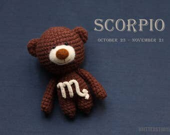Scorpio zodiac teddy bear - crochet zodiac toy, Scorpio birthday present, horoscope Scorpio gift, Scorpio star sign - MADE TO ORDER
