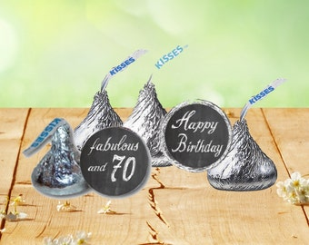 70th Birthday Hershey Kiss Stickers, Hershey Kiss Birthday Labels, 70th Birthday Stickers, 70th Celebration