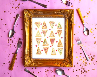 PIZZA LOVE Watercolor Print (8.5 x 11)