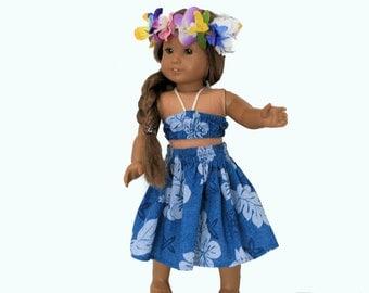 Blue Botanical Hawaiian Pa'u Print Hula Dress with Bright Haku Lei for 18 Inch Dolls such as American Girl, Our Generation, Madam Alexander