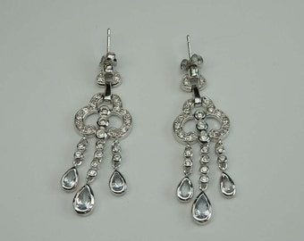Sterling Silver Zircon Dangle Drop Earrings Clover Tear Drop Shapes