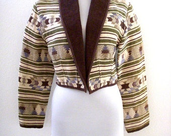 Vintage 80s 90s Southwestern Jacket - Cropped Navajo Jacket with Corduroy Collar - Short 1980s Indian Jacket - Size Small to Medium PM