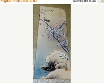 "on sale 184--Antqiue Japanese painting scroll Snow melt plum bird 48x13"", Excellent condition"