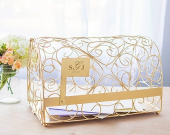 Monogram Wedding Reception Card Holder Mail Box Personalized Wedding Decorations