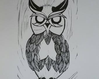 Owl Relief Print