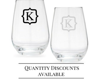 Set of 2 - Personalized Wine Glasses - Stemless Wine Glass - Wedding gift - Gift for couple - monogram - crystal glasses - Schott Zwiesel