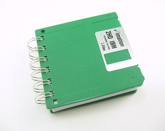 Green Floppy Disk Notebook, Floppy Disk Notepad, Blank, Wire Bound, To Do List, To Do Notepad