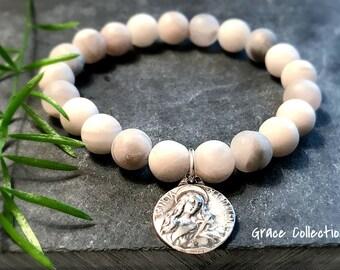 Matte Agate and Religious Medal Bracelet / Boho Gemstone Mary Magdalene Bracelet / Grace Collection Bracelet
