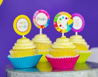 Art Party Cupcake Topper - Printable Painting Party Cupcake Toppers by Printable Studio
