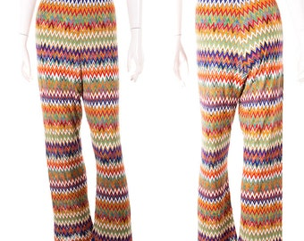 Missoni Vintage Zig Zag Flame Stitch 70s Knit Pants