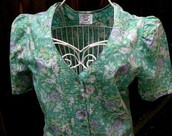 Laura Ashley Dress, Vintage Laura Ashley, Vintage Dress, 1980s Fashion, UK Size 10, Day Dress, US Size 6, Floral Dress, Tea Dress, Green