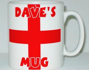 England Flag Mug PERSONALISED English St. George's Day Cross Football Sport Gift