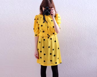 true vintage yellow shift dress graphic pattern S XS
