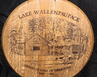 Commemorative House Sketch Bourbon Barrel Head
