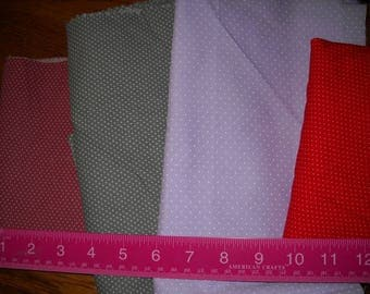 Destash- Group of Pin Dot Quilter's Cotton Fabrics For Quilting Or Crafting