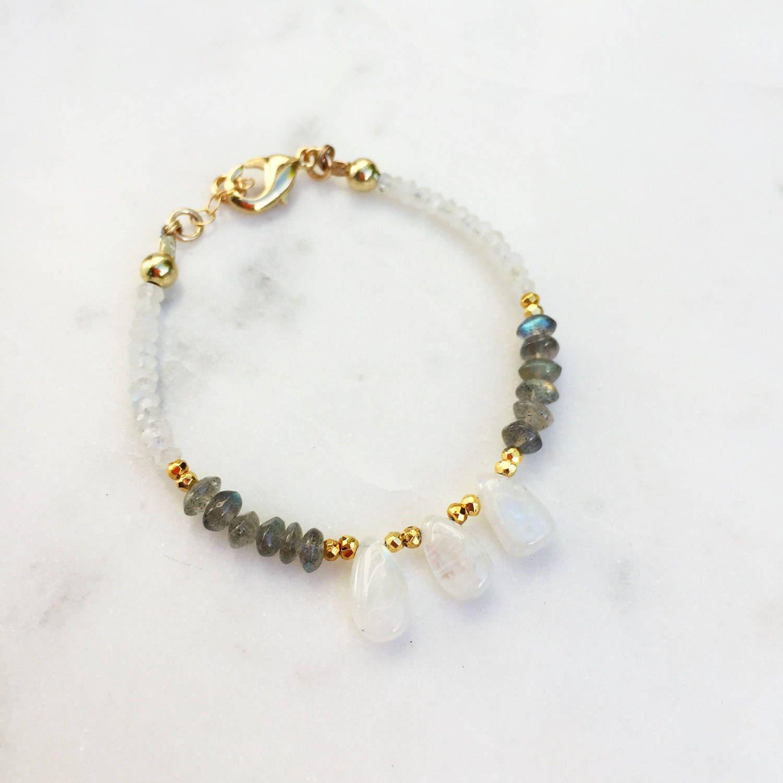 Flashy Moonstone Teardrop Bracelet | Raw Gemstones | Beaded Bracelet |