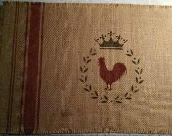 """Shabby Country French 13""""x18"""" Linen Stripe Rooster, Laurel Wreath, and Crown Burlap Placemat"""