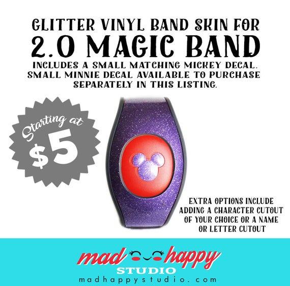 Magic Band GLITTER Vinyl Decal Skin With Optional - Magic band vinyl decals