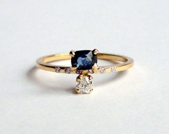 Natural Sapphire, Old Mine Cut Diamond, Diamond, 14K Yellow Recycled Gold Band, Engagement Ring, Wedding Band, Stacking Ring