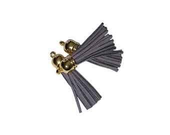 Key Chain Tassel Pendants - Long Tassels - 10 Medium Gray Tassel - 58mm - Gold Cap Decorative Tassels For Jewelry - Purse Tassels - TL-G127