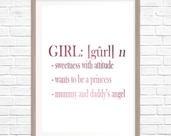 REAL GOLD FOIL Girl Meaning funny/customise your own Foil Print-Wall Art Print Gold Foil