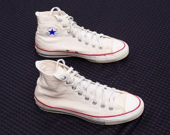 Vintage Converse Chuck Taylor All Stars - Shoes - Cons - Chucks - All Star Made in USA - Hi Tops High Tops - Canvas Footwear - 80s 1980s