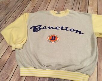 Vintage 80's United Colors of Benetton Sweatshirt Oversized Baggy Green Line Medium Large M L RARE