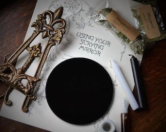 OBSIDIAN SCRYING MIRROR, 5 inch diameter black mirror, black scrying mirror, divination mirror, scrying, obsidian mirror