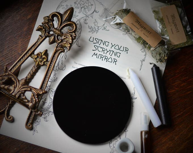 OBSIDIAN SCRYING MIRROR, 5 inch diameter black mirror, black scrying mirror, divination mirror, scrying, obsidian mirror