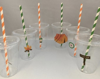 Camping Party Cups with Lids and Straws: Camping Plastic Drink Cups, Camping Party Supplies, Scout Party Supplies