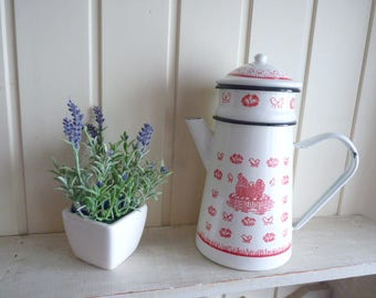 French Coffee Pot Enamel usable hens and chicks red and white Vintage French Chippy Enamel French Kitchen