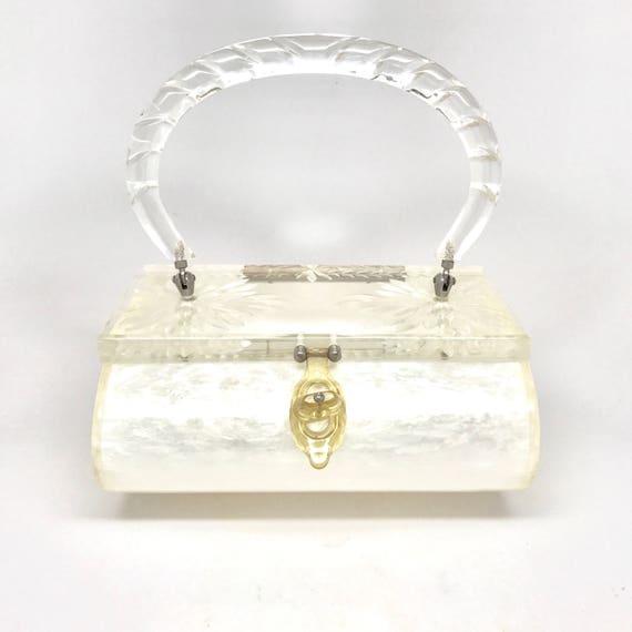 Rare Lucite Rialto NY Bag - 50s Lucite Box Bag - Bride White Lucite Bag - Pearlized Cream Ivory Lucite Rialto Bag - Very Good Condition Bag